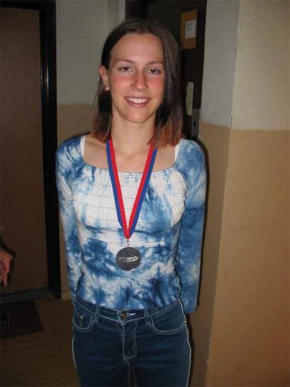Radka Vodičková s medailí z ME