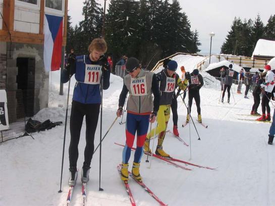 Jablonečáci před startem - Pavel, Míša a Venca